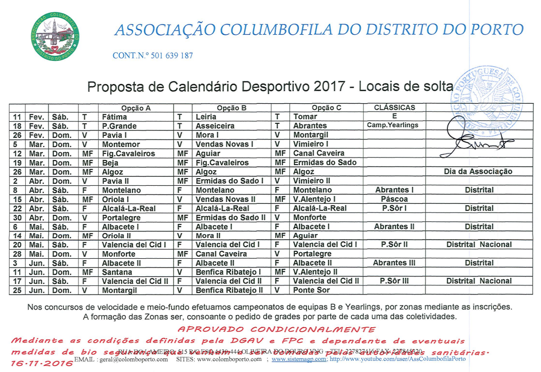 Calendário Desportivo 2017
